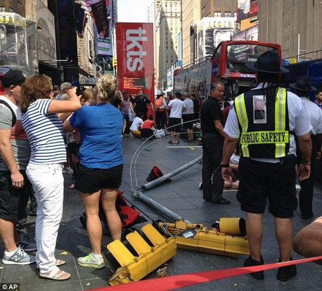 The FDNY says the buses crashed at 7th Avenue and West 47th Street