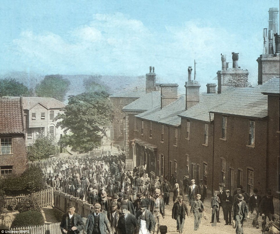 Hand tinted glass plate thousands of workers leaving the Carrow works in 1900: The gallery of vintage pictures dates back to 1814