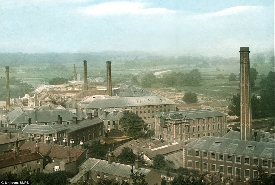 Hand tinted glass plate of the Carrow works in 1900: Mustard escaped rationing during the Second World War and was used to make war-time recipes more interesting