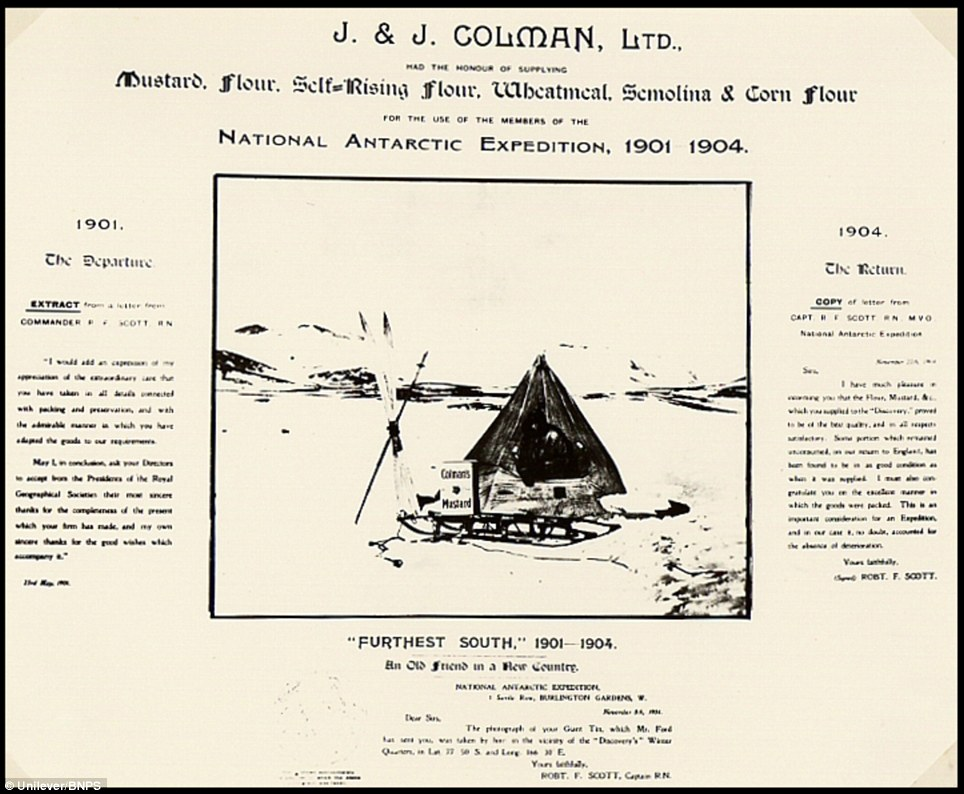 Advert celebrating Colman's use on the 1901-04 Antartic expedition. It gained even more popularity when in 1911 the factory donated a ton-and-a-half of Colman's Mustard and nine tons of flour to Captain Scott's ill-fated Terra Nova Expedition to the South Pole
