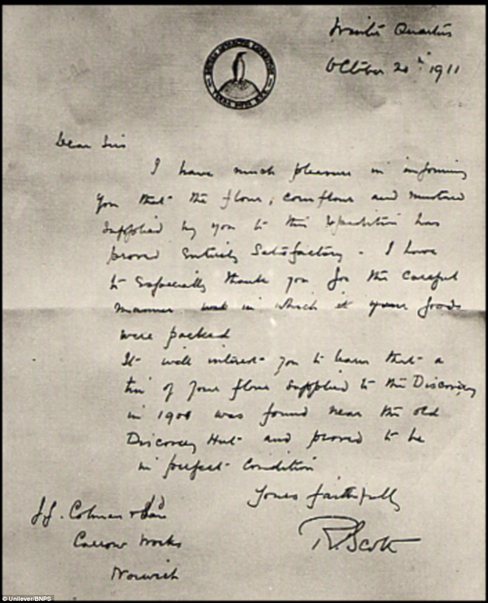 The letter from Captain Scott thanking Colman's for supplying mustard for his ill fated Terra Nova expedition to the South Pole