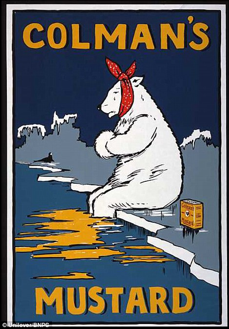 1920's advert with polar bear to demonstrate mustard's benefits to sufferers of colds