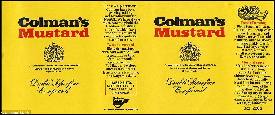 The label from 1974: The popular product was founded by former flour miller Jeremiah Colman and celebrates its 200th anniversary this year