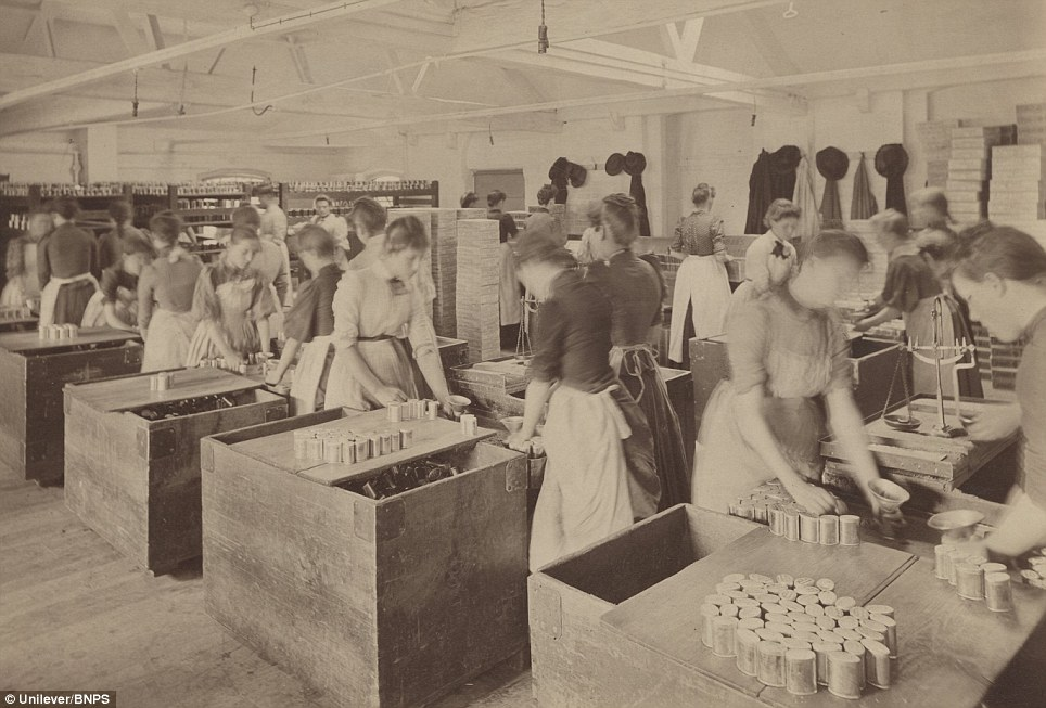 Female workers packing penny oval tins in 1910: The gallery of vintage pictures includes photographs, posters, leaflets and articles dating back to 1814