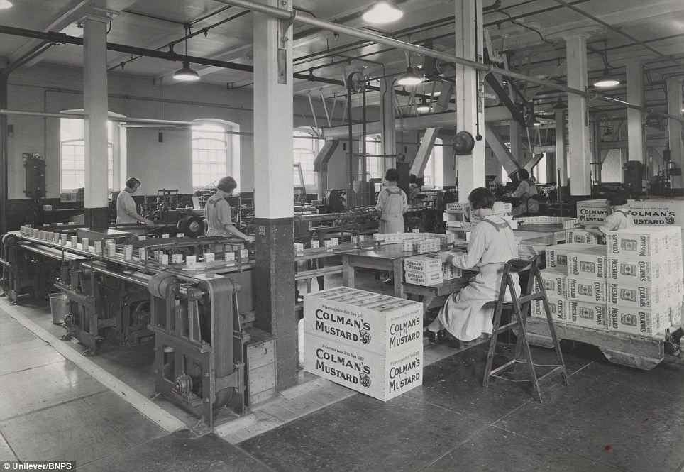Packing mustard in the 1930: The popular product was founded by former flour miller Jeremiah Colman and sold as a powder for people to mix into a paste