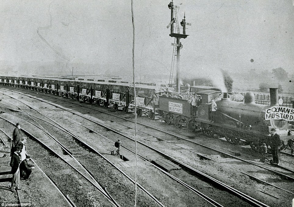 A 'Mustard Train' leaving the Carrow works in 1896: Popularity for the spicey condiment went from strength to strength and in the 1880s they began to offer different types of containers for customers to buy it in