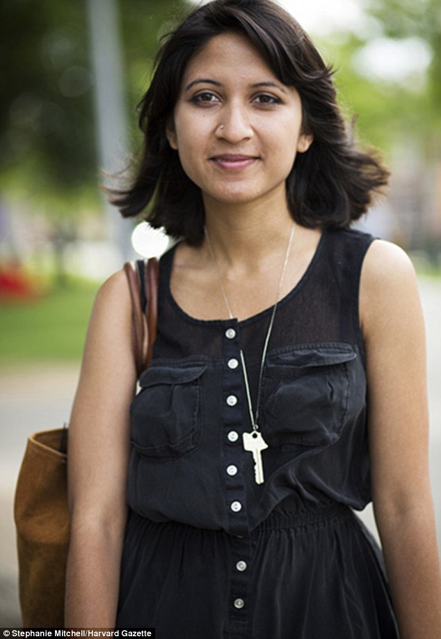 Basic black: Shireen Khan says she wears her key as a necklace to avoid getting locked out of her room