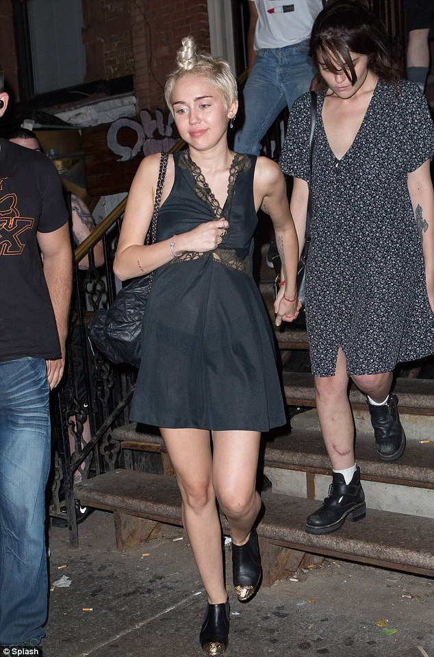Hitting the town: Later on Tuesday Miley, 21, headed to a New York karaoke bar with friends and then headed to Finale nightclub