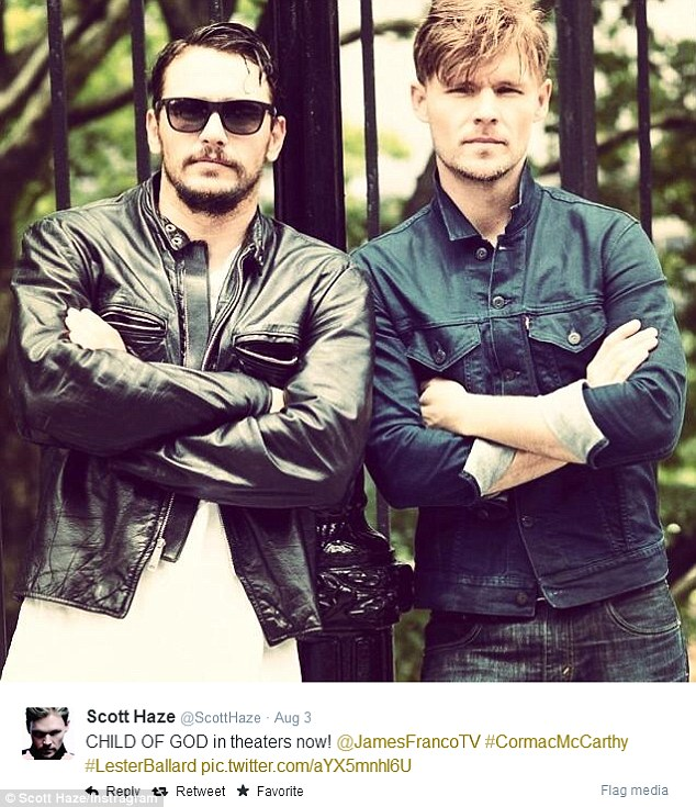 Social media promotion: Haze posted a snapshot of himself and Franco in identical poses to promote new film Child Of God