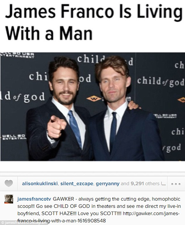 Chastised: James Franco poked fun at one media outlet's coverage of he and Haze's living arrangements