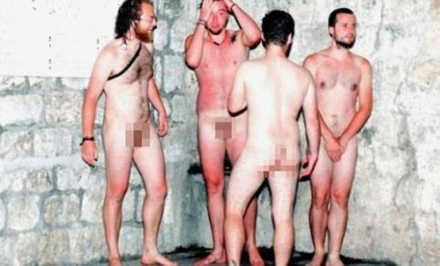 Too much information: A photo of the four drunk German tourists who were chased by police in Dubrovnik