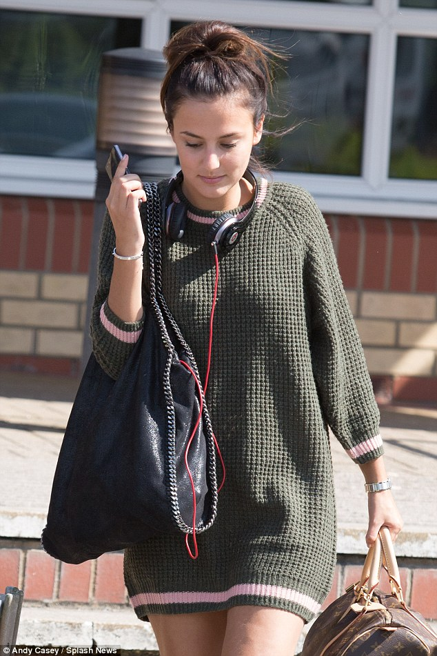 Stylish exit: Lucy Watson, Louise Thompson and Binky Felstead were among the cast member pictured making their way to Barnstaple train station on Thursday