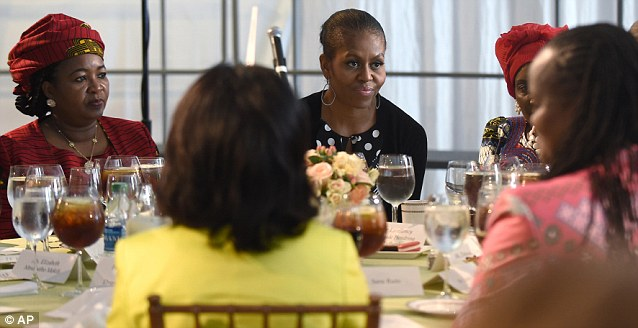 The event was part of a portion of the summit for spouses. After the conservation Michelle Obama dined with several first spouses of African countries, including the First lady of Tanzania Salma Kikwete, who sat to her left