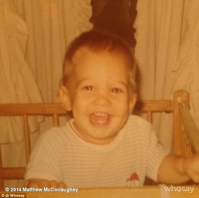 Star in the making: Matthew McConaughey shared a cheeky throwback picture on Thursday of himself as a toddler