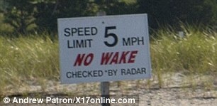 Slow down! Scott zoomed right past the speed limit sign that read '5 m.p.h;