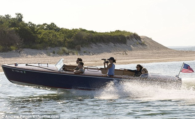 Coming soon: As the couple are currently in the middle of filming Kourtney & Khloe Take The Hamptons, a camera operator could be spotted aboard the watercraft