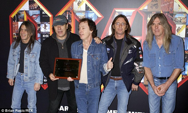 Malcolm Young (far left) pictured with AC/DC in 1981