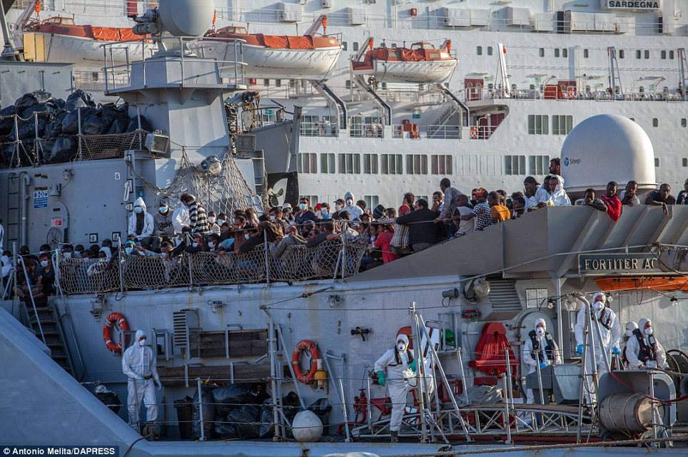 Influx: The migrants were rescued in the previous few days in the Strait of Sicily while trying to reach Italian coasts from Africa