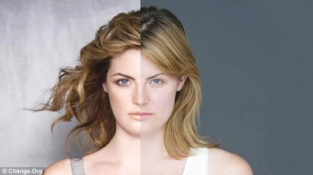 Practice what you preach: The petition is accompanied by a still from Dove's own 2006 campaign - a time lapse video which sees a make-up free model (right) styled, transformed and aggressively Photoshopped (left)