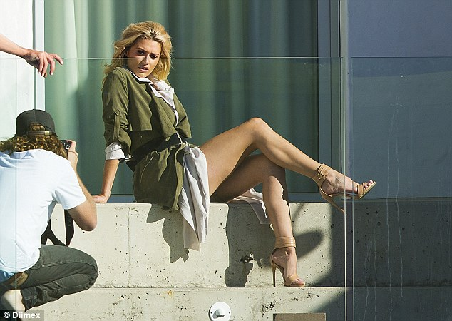 Leggy lady: Cheyenne posed in a photo shoot for Wanted Shoes in Vaucluse last week