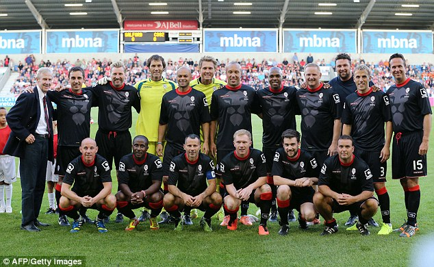 Glory days: The Class of '92 and Friends pose for a picture ahead of the pre-season friendly