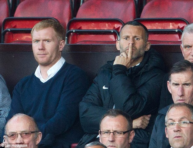Unit: Scholes worked under former team-mate Ryan Giggs during the Welsman's spell as United boss