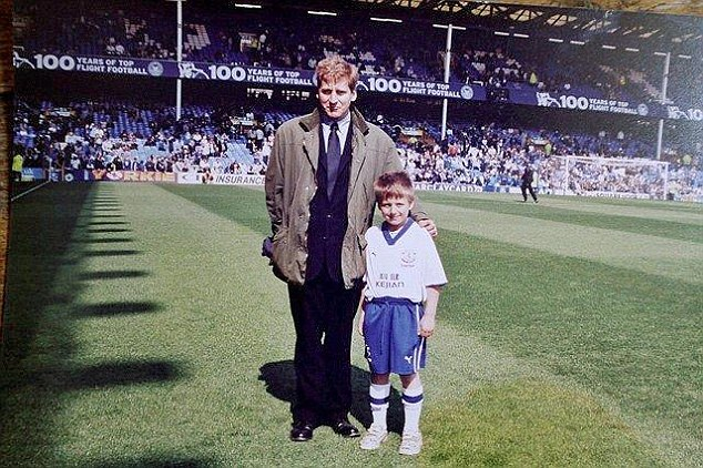 Pride: Brian Viner's son Jose, then eight years old, was a mascot for an Everton game at Goodison Park