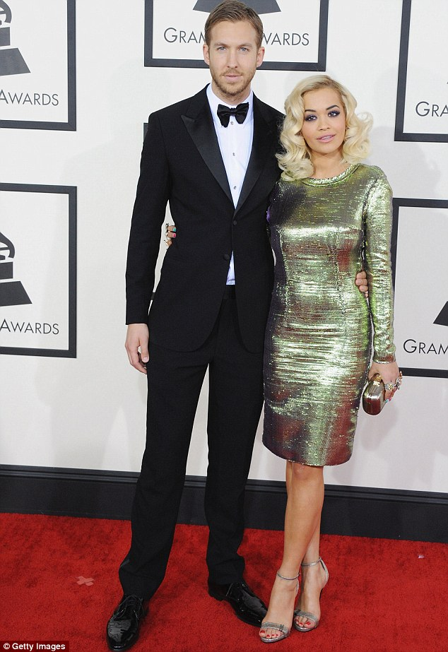 In happier time: Rita and Calvin split in June (pictured here at the Grammy's in January)