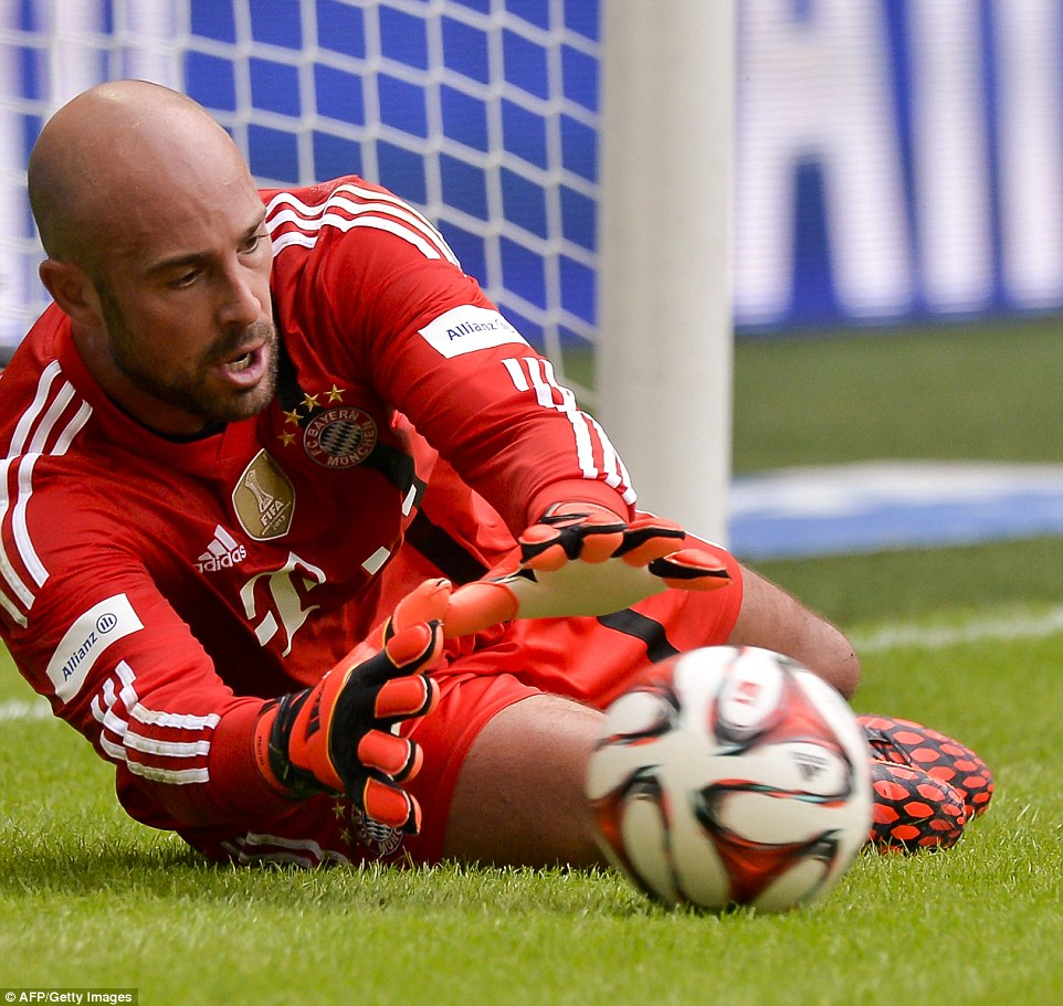 New boy: Pepe Reina was in action for the real Bayern Munich side as they had an open training session before the legends took to the field