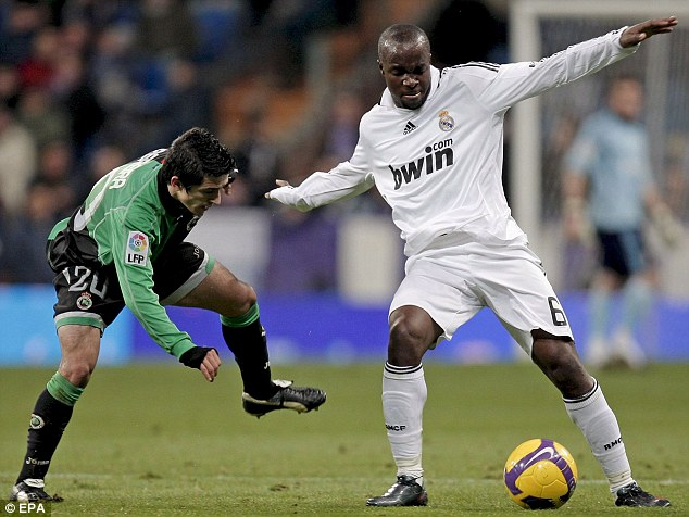 Galactico: Diarra in action for Real Madrid after he moved to the Bernabeu following his spell at Portsmouth