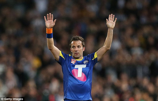 Thanks for having me! Alessandro Del Piero laps up the applause when playing for the A-League All Stars