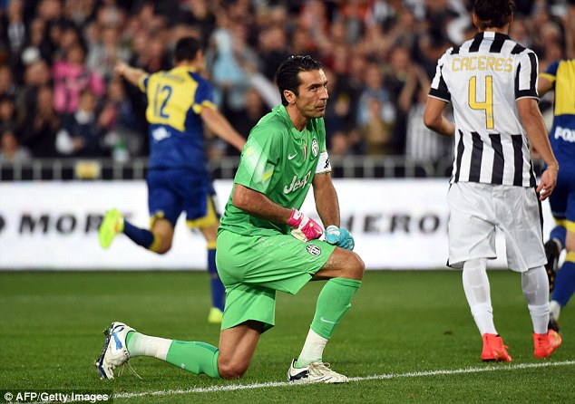 Blow: Buffon wasn't impressed after Marcelo Carruscao (left) found the net for the All Stars