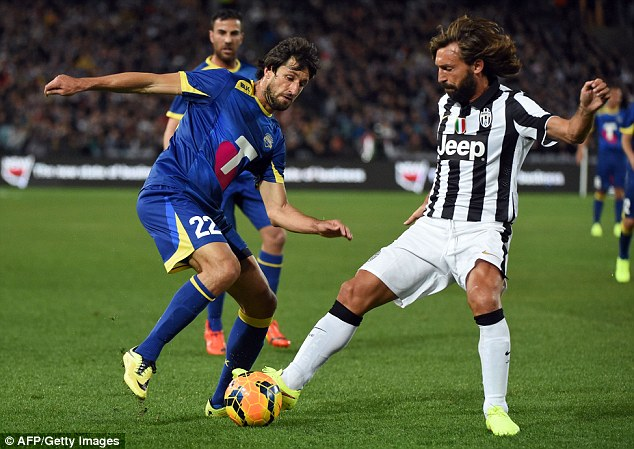 Wriggle: All Stars man Thomas Broich tries to weave his way beyond Pirlo
