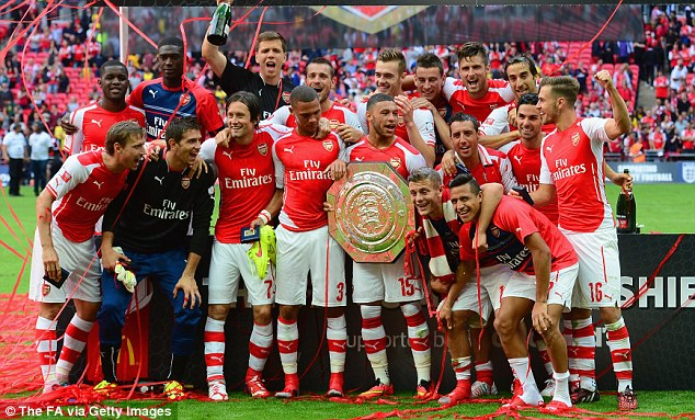 Champions: Arsenal made it two trophies from two Wembley visits after winning the FA Cup back in May
