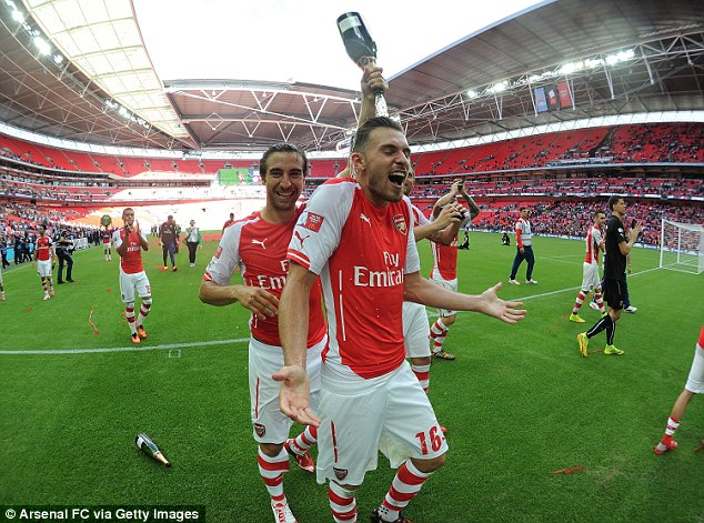 It's a celebration: Ramsey is targeting more success with Arsenal after another Wembley goal