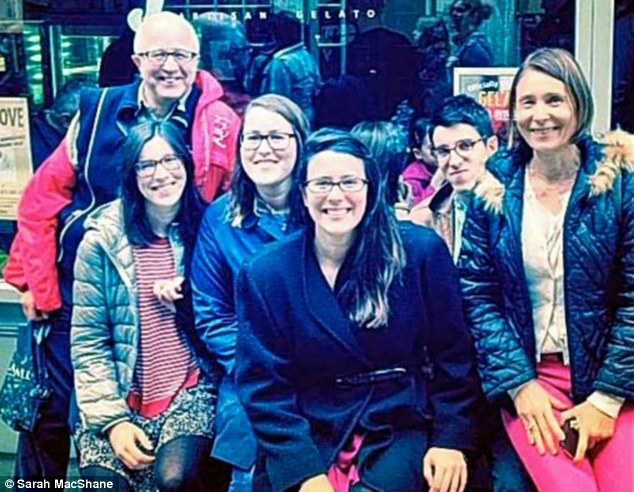 Final freedom: Denis MacShane pictured with his three daughters, Sarah, Emilie and Laura, son Ben and their mother Nathalie