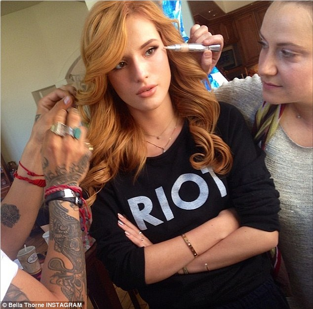 Ready for some Teen spirit: Bella Thorne shared this shot on Instagram where her glam squad was getting her ready for the Teen Choice Awards on Sunday