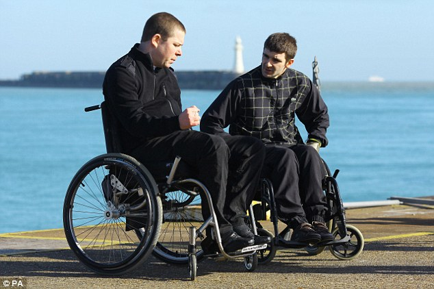 Alex Smith (left) and Sonny Wells (right), have both been left wheelchair bound after tomb-stoning accidents