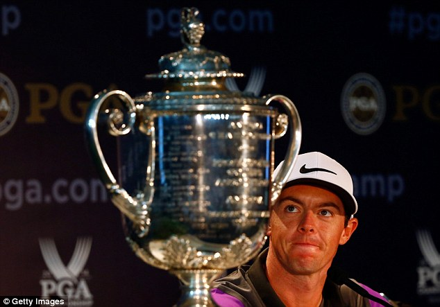 Double: And he couldn't take his eyes off his second US PGA title