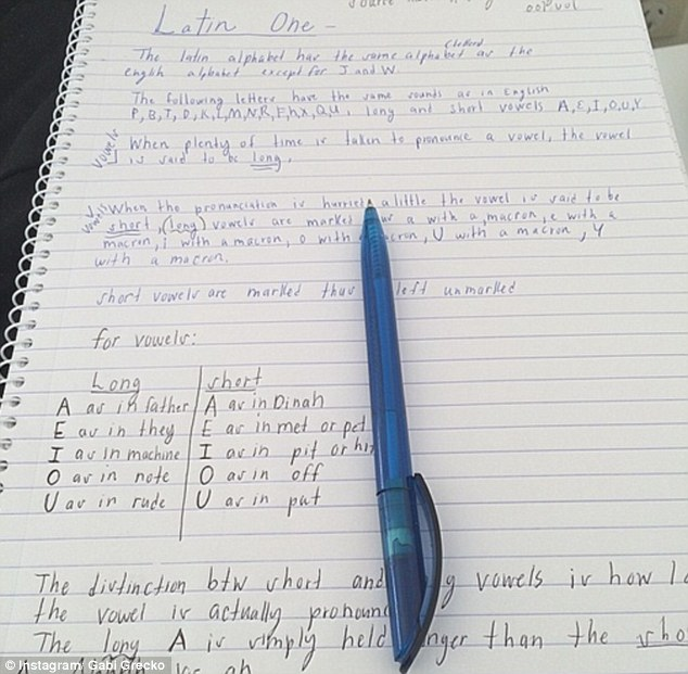 Taking notes: The 25-year-old, who is dating Australian businessman Geoffrey Edelsten, 71, hopes the study will boost her song writing skills