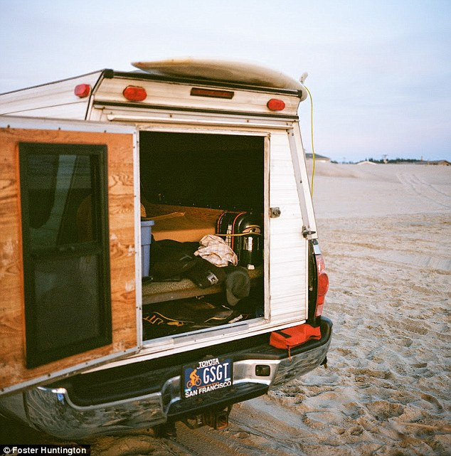 Packing it in: Foster Huntington decided to quit his job as a designer at Ralph Lauren in New Yorker and drive around the country in a camper surfing