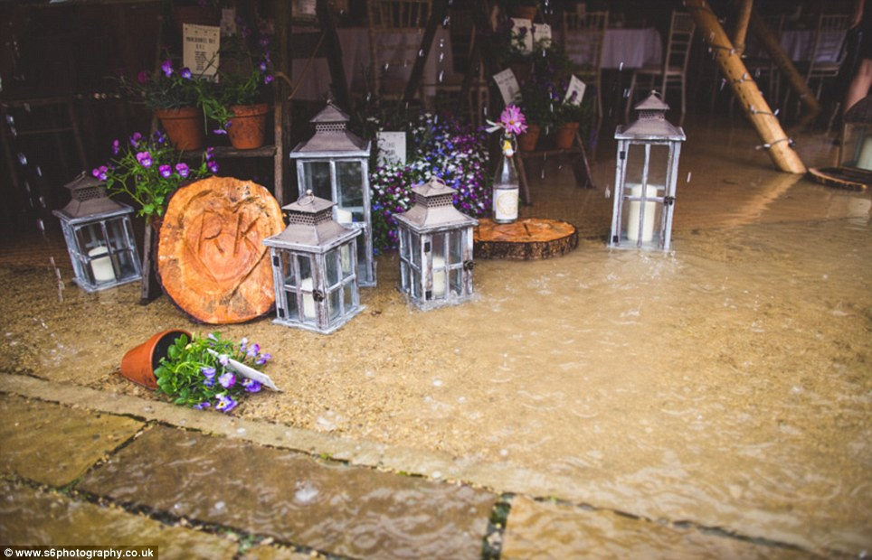 Bertha had swept across the north of England, bringing with it strong winds which knocked over flower pots, shattered candle holders and ruined the entire set up of the couple's reception