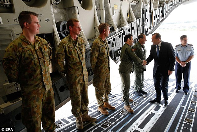 Mr Abbott also met with and spoke to crew members of the The Royal Australian Air Force's Boeing C-17 during a visit to the airbase Eindhoven in the Netherlands