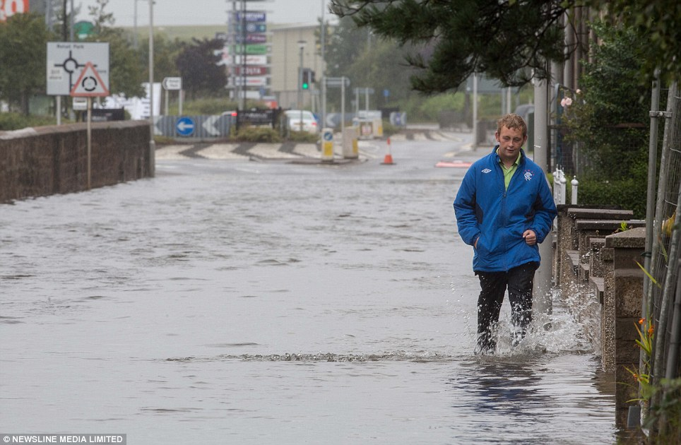 Morayshire, Scotland, was heavily flooded today after 99mm fell in the space of just 12 hours in the town of Lossiemouth. The usual average rainfall for August in the town is 80mm