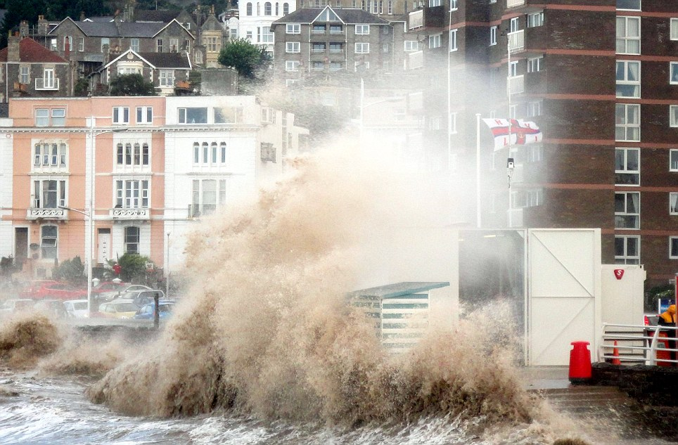 Waves crash into the seafront of Weston Super Mare, as flood warnings remain in place across many parts of the UK, including in the south west