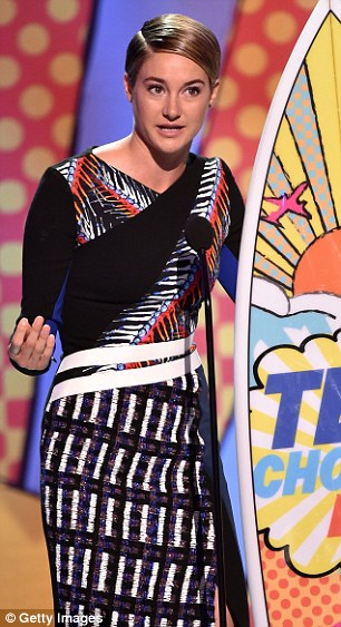 Not all serious: Accepting her Choice Movie Actress: Action/Adventure award for Divergent, Shailene joked that she was looking forward to taking her surfboard out for a spin during Shark Week