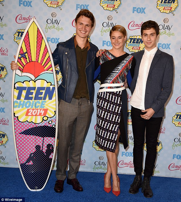 Winners are grinners: The film's stars Ansel Elgort, Shailene Woodley and Nat Wolff (from left) scooped the pool, taking home Choice Movie: Drama much to the delight of the cheering audience