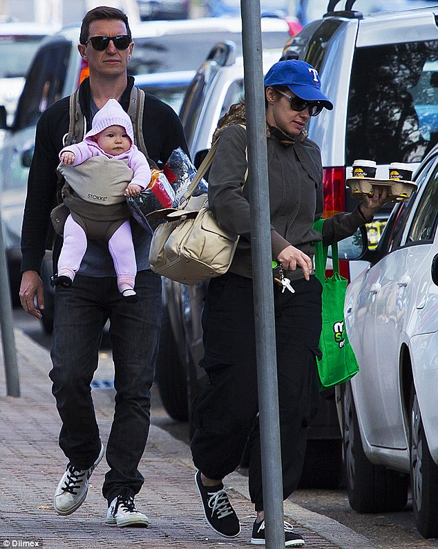 Coffee run: Now he's back Down Under, Rove McManus wasted no time in showing his adorable baby girl Ruby and his wife Tasma Walton around Sydney