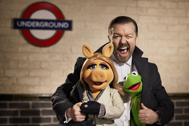 Friends in high places: Ricky Gervais joins Miss Piggy and Kermit in Muppets Most Wanted
