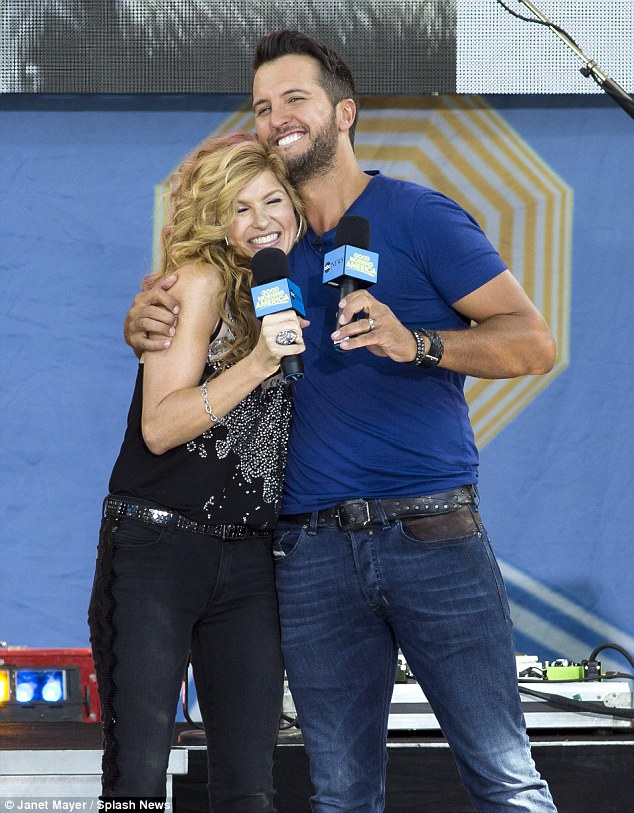 Country spotlight: The redhead joined country crooner Luke Byran at his Good Morning America concert in Central Park on Friday